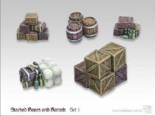 Stacked Boxes & Barrels Set 1 (5)