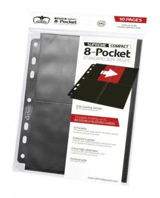Ultimate Guard 8-Pocket Compact Pages Side-Loading Schwarz (10 Stk)