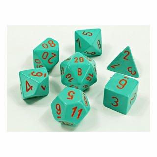 Chessex: Heavy Turquoise/orange Polyhedral 7-Die Set