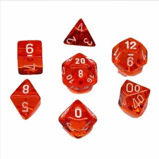 Chessex: Translucent Orange/white Polyhedral 7-Die Set