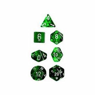 Chessex: Translucent Green/white Polyhedral 7-Die Set