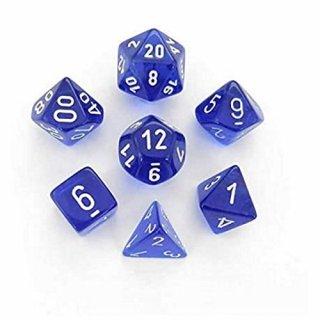 Chessex: Translucent Blue/white Polyhedral 7-Die Set
