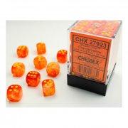 Chessex: Orange w/yellow Ghostly Glow d6 Dice Block