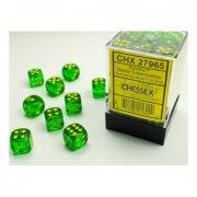 Chessex: Borealis Maple Green/yellow D6 Dice Block (36 Dice)