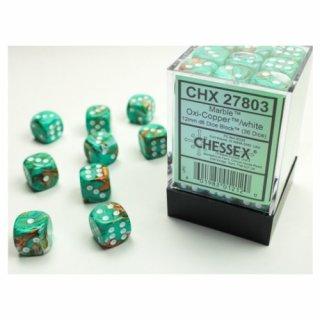 Chessex: Marble Oxi-Copper/white D6 Dice Block (36 Dice)