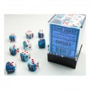 Chessex: Gemini Astral Blue-White/red d6 Dice Block