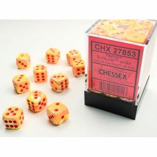 Chessex: Festive Sunburst w/red D6 Dice Block (36 Dice)