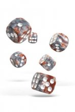 Oakie Doakie Dice: 16mm D6 Gemidice Silver-Rust (12)