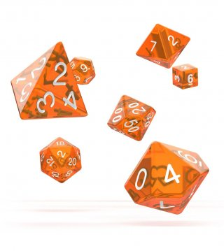 Oakie Doakie Dice: RPG Set Translucent Orange (7)