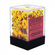 Chessex: Gemini Red-Yellow/Silver D6 Dice Block (36 Dice)