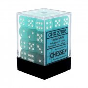 Chessex: Teal/White Frosted D6 Dice Block (36 Dice)