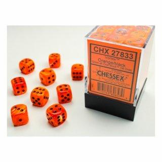 Chessex: Vortex Orange/Black D6 Dice Block (36 Dice)