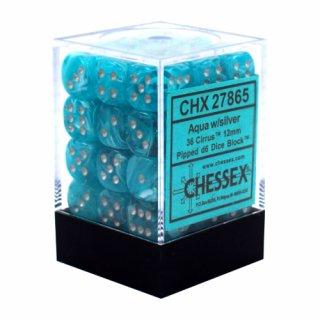Chessex: Cirrus Aqua/Silver D6 Dice Block (36 Dice)