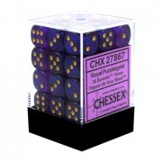 Chessex: Royal Purple/Gold Borealis Pipped d6 Dice Block
