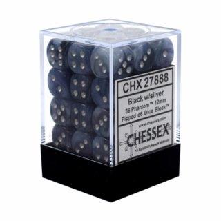 Chessex: Phantom Black/Silver d6 Dice Block (36 Dice)