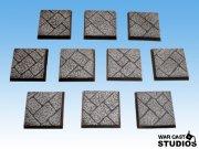 War Cast Studios: Square Cobblestone Bases 25mm (10)